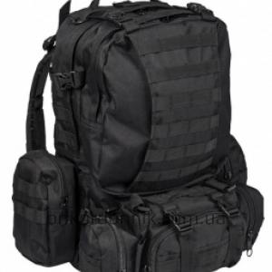Рюкзак тактический черный 46 л с подсумками