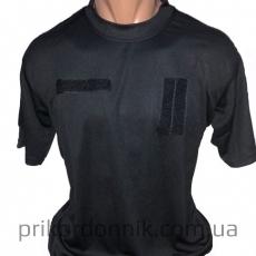 Потоотводящая футболка c погоном TACTICAL T-SHIRT QUICKDRY черная