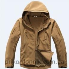 Тактическая куртка Softshell койот с капюшоном