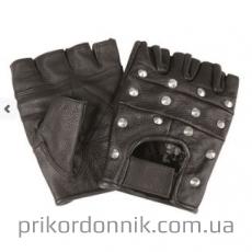Перчатки черные кожа с металлическими аксессуарами