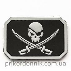 """Шеврон ПВХ """"Pirate Skull""""черно-серый"""