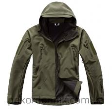 Тактическая куртка Softshell олива с капюшоном