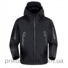 Тактическая куртка Softshell черная с капюшоном